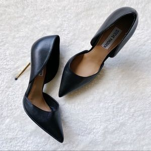 Steve Madden D'Orsay Gettout Black Leather Pumps